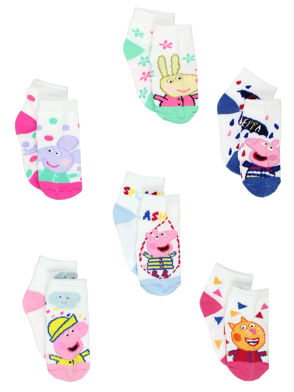 Peppa Pig Toddler Girls 6 Pack Quarter Style Socks
