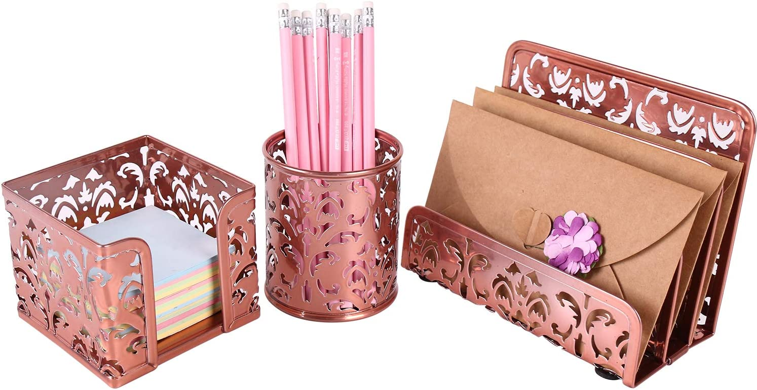 EasyPAG Desk Organizer and Accessories Set 3-Piece Includes Letter Sorter, Pen Holder,Sticky Notes Holder,Rose Gold