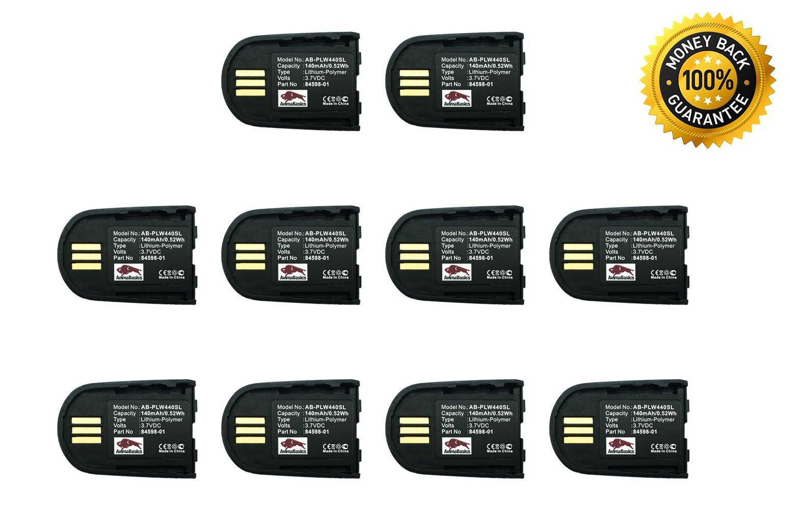 AvimaBasics BEST Premium Quality Replacement Rechargeable 140mAh 3.7V Battery for Plantronics Savi WH500 W440 W740 - Bluetooth Wireless Headset 84598-01 82742-01 - SATISFACTION GUARANTEE! (10 Pack) by AvimaBasics (Image #1)