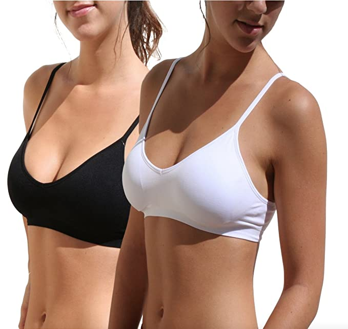 Blue 55 Women's Sexy Everyday Basic Deep V-Neck Padded Bralette (S/M, 2 Pack: Black & White)