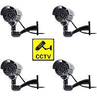Cámara Seguridad Falsa Interior Exterior Calidad CCTV Cámara de Vigilancia con Intermitente Luz LED Noche x 4