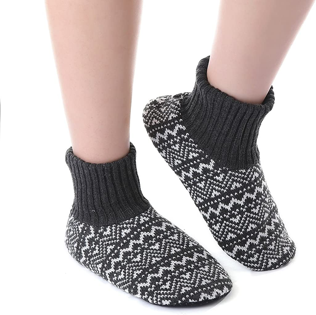 Panda Bros Slipper Socks For Women With Grippers, Fuzzy Womens Slipper Booties With Non Slip Bottoms, Cozy Warm House Slippers