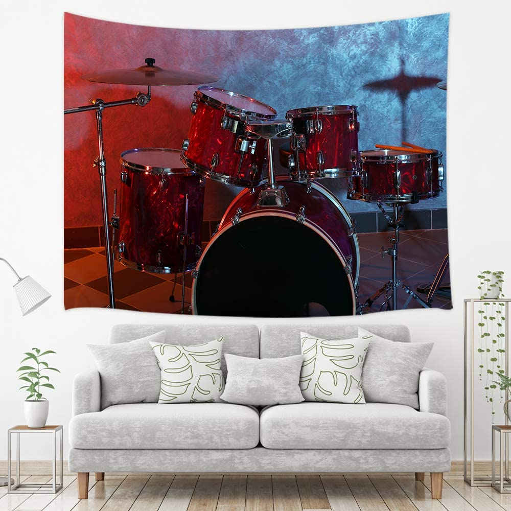 NYMB Jazz Music Theme Tapestry, Rock Roll Musical Instrument Cool Drum Set on Dark Stage for Concert, Wall Art Hanging for Bedroom Living Room Dorm, 71 X 60 in Wall Blankets Home Hippie Decor