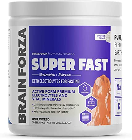 Brain Forza Super Fast Keto Electrolytes for Fasting - Premium Electrolytes, No Sugar or Flavoring w/Potassium, Sodium, Magnesium, Calcium, Iron, Pink Himalayan Salt, (30srv, Unflavored)