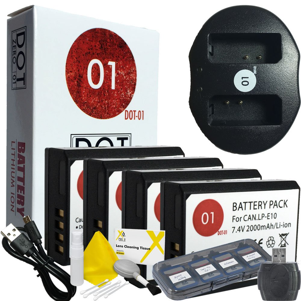 DOT-01 4x Brand Canon EOS Rebel T7 Batteries and Dual Slot USB Charger for Canon EOS Rebel T7 DSLR and Canon T7 Battery and Charger Bundle for Canon LPE10 LP-E10