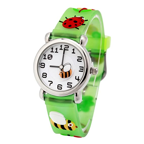 Amazon.com: MIFXIN Childrens Watch Teacher Fabric Strap Watch Girl Watch 3D Cute Cartoon Quartz Watch Stainless Steel Wrist Watch with Silicone Band Time ...