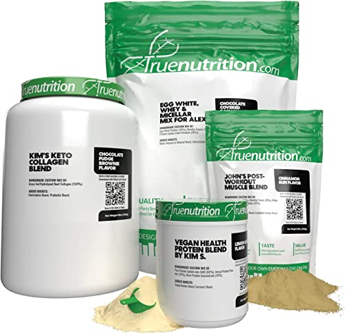True Nutrition – Make Your Own Custom Protein Blend – Customizable Protein Powder – Choose Your Protein Type, Flavoring, Boost s , Packaging Type, and Personalized Blend Name 1LB up to 30LB