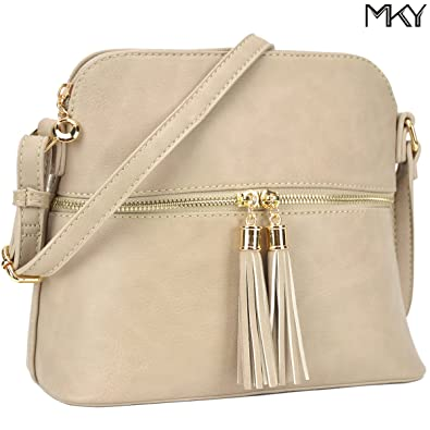 c9a0c95bdb3 Image Unavailable. Image not available for. Color  Ladies PU Leather Medium  Crossbody Shoulder Bag Fashion Purse Large Capacity Tassel Beige