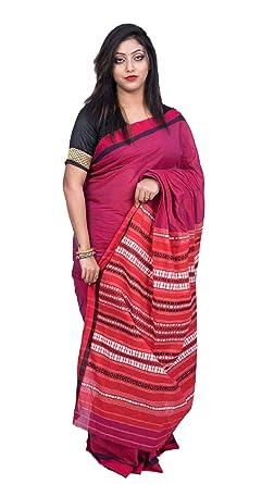 cc62a6bca591c3 Kopai The Bengal Hatt Women Cotton Handloom Saree (Red With Blouse  Piece Free Size Handloom Mark)