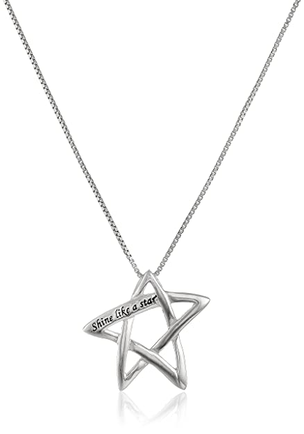 Amazon sterling silver shine like a star star pendant sterling silver quotshine like a starquot star pendant necklace aloadofball Images