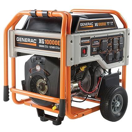 amazon com : generac 5802, 10000 running watts/12500 starting watts, gas  powered portable generator : garden & outdoor