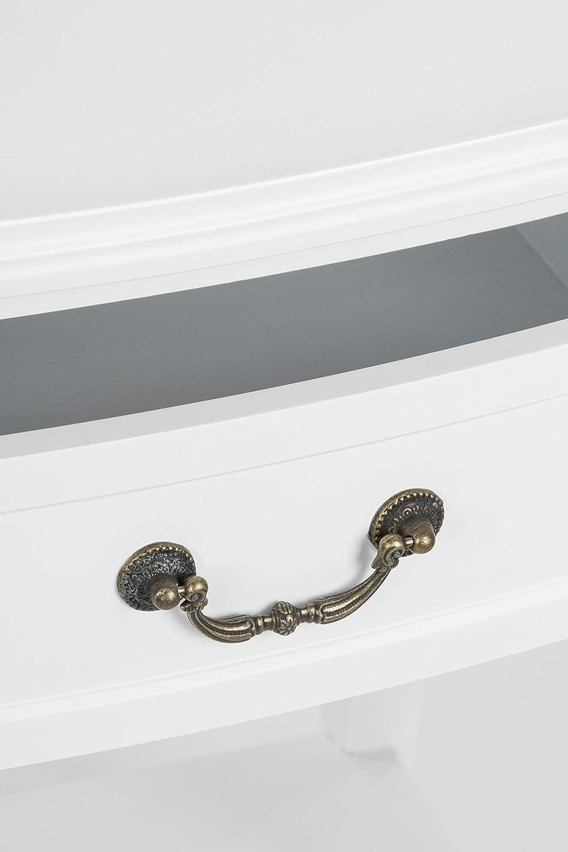 Elbmöbel Nachttisch Beistelltisch weiß weiß Beistelltisch Antik schmal rund mit Schublade (Weiß, B56 x H82 x T35 cm) 12d9be