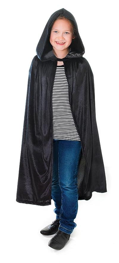 Kids Child Hooded Velvet Cape Cloak Halloween Fancy Dress Robe Costume Wicca  UK