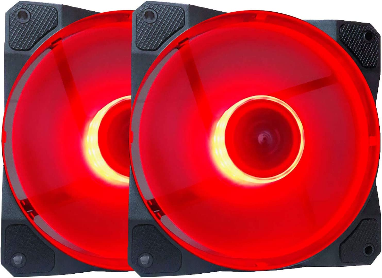 APEVIA CO212L-RD Cosmos 120mm Red LED Ultra Silent Case Fan w/ 16 LEDs & Anti-Vibration Rubber Pads (2 Pk)