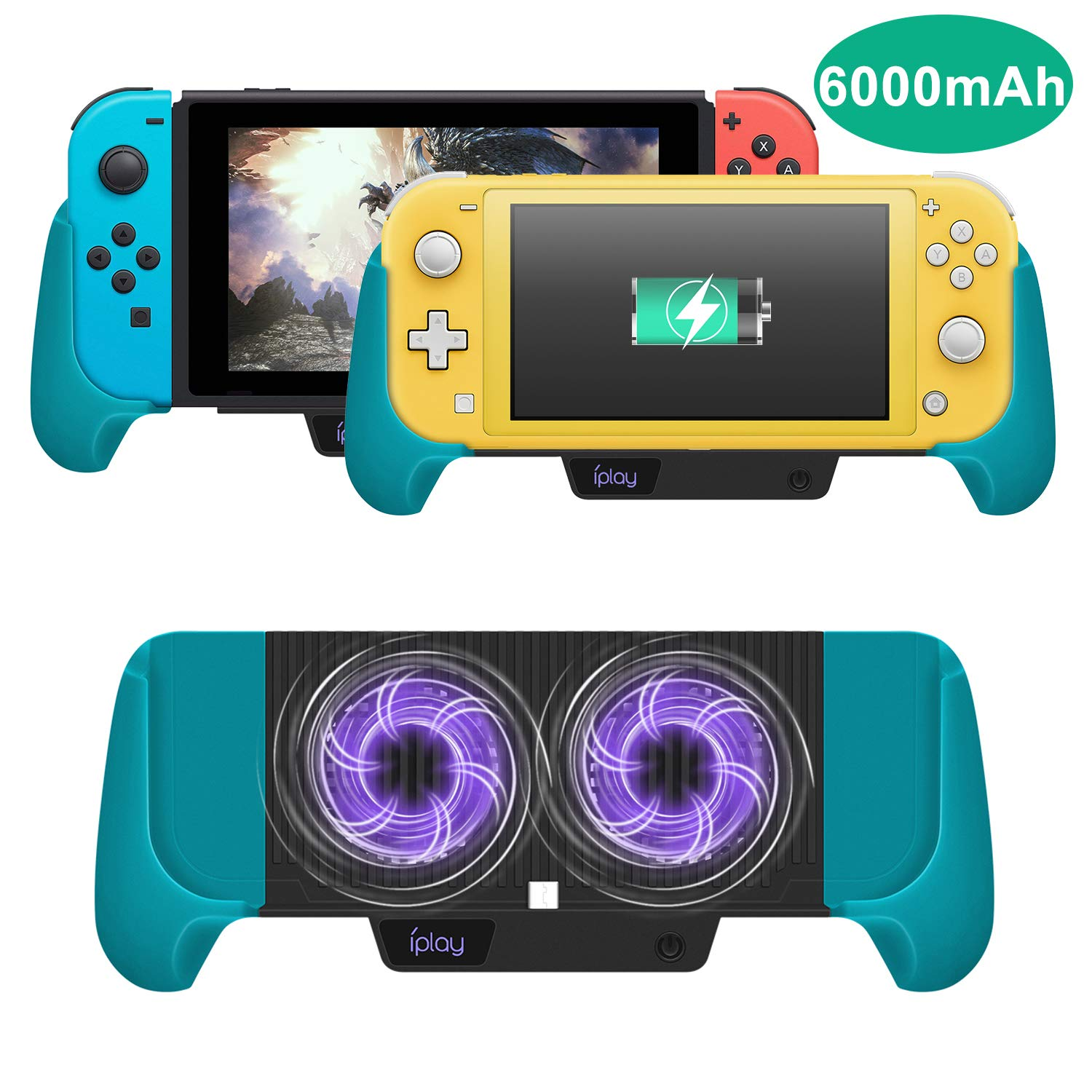 Cooling Charging Grip for Nintendo Switch/Switch Lite, Multifunctional 4 in 1 Gaming Grip with Charger Stand Cooling Fan Bracket Design for Nintendo Switch Lite and Nintendo Switch (Blue)