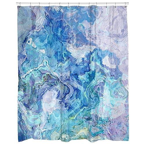Modern Abstract Art Shower Curtain In Aqua And Blue Cloud Nine