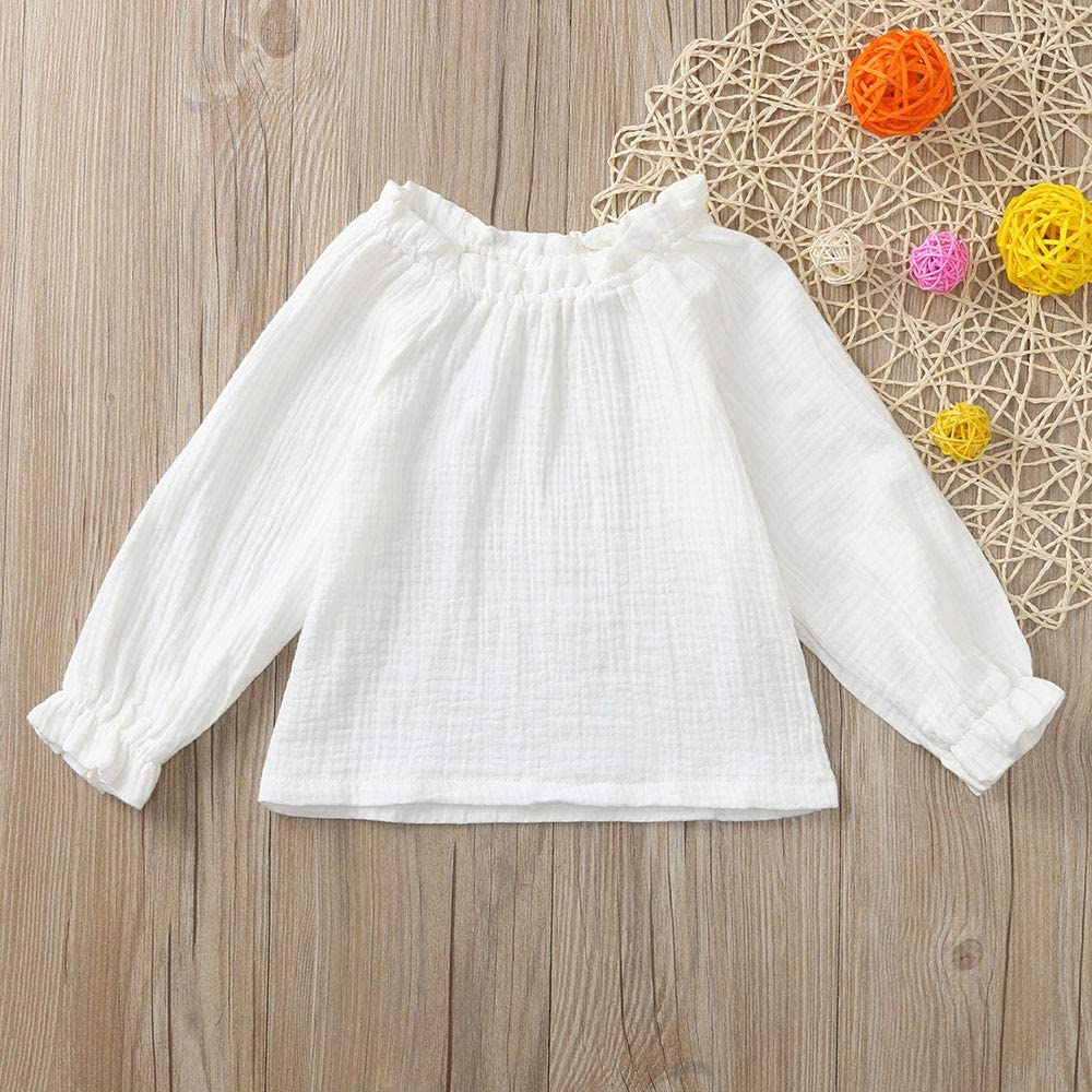 Toddler Baby Girls T Shirt Long Sleeve Solid Infant Tops Cotton Toddler Casual Blouse Tee Age:18-24 Months, White