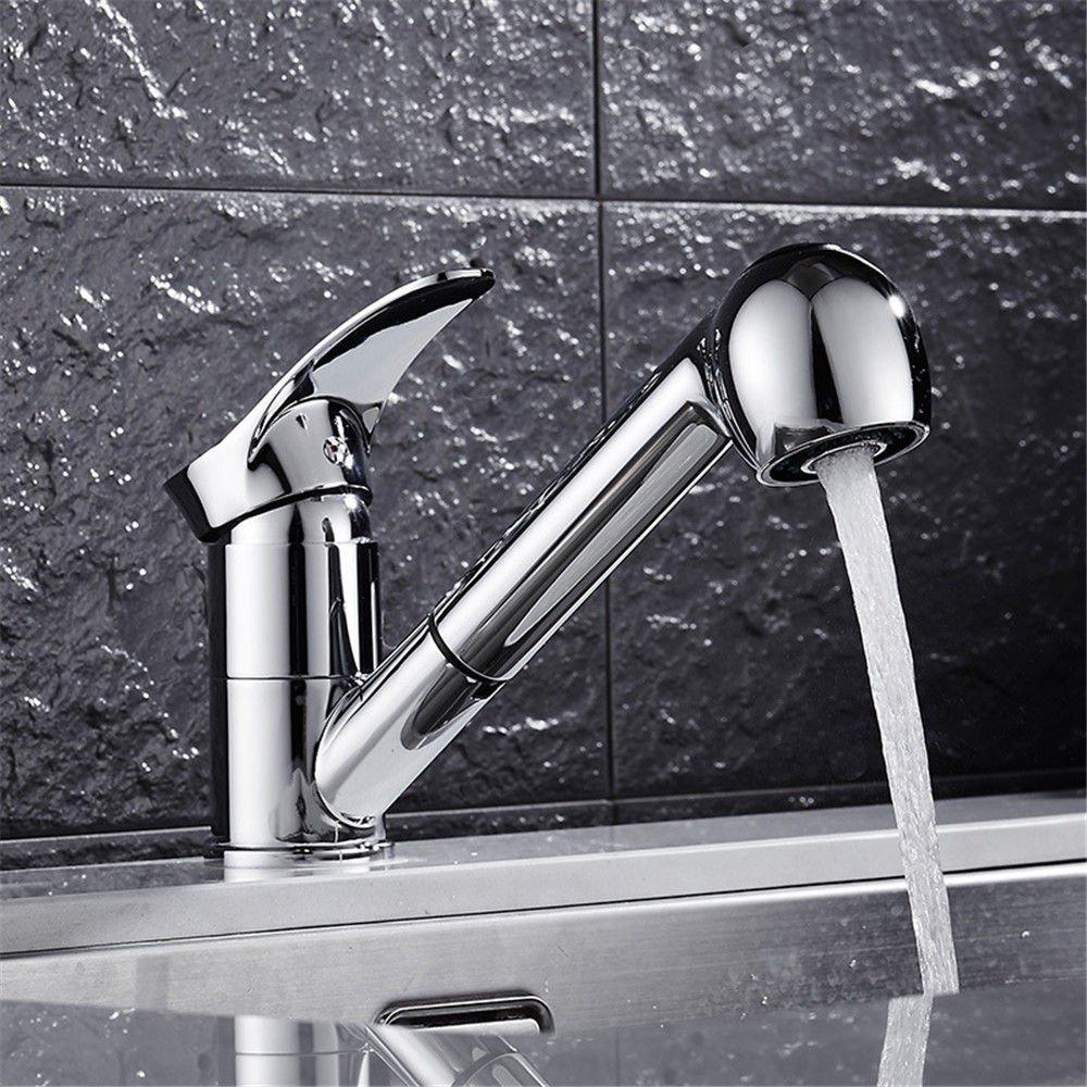 T-TSLT Europäische Retro kupferne küchenarmatur heißen und kalten sinken wasserhahn ziehen wasserhahn