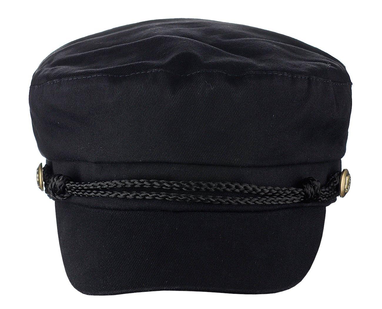 D&Y Ladies Summer Cotton Greek Fisherman Sailor Fiddler Driver Hat Flat Cap, Black by D&Y (Image #2)