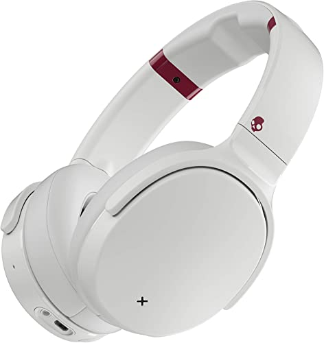 Skullcandy Venue Active Noise Cancelling Headphones, Over The Ear Bluetooth Wireless, Tile Integration, Rapid Charge 24-Hour Battery Life, Lightweight Premium Materials, White Crimson Renewed
