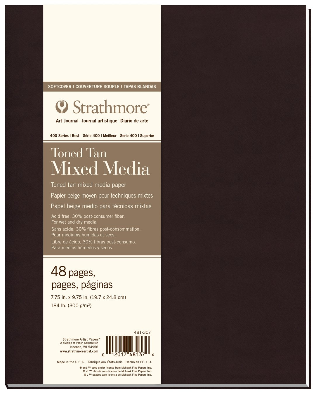 Pro-Art Strathmore Softcover Watercolor Journal 7.75-inch x 9.75-inch, 24 Sheets 483-7