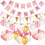 happy Birthday Decorations banner ultimate pink gold big Pompoms Flowers Kit stand women paper Garland Hanging Swirl first birthday girl baby Bridal Shower purple blue mini sign red giant honeycomb