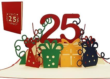 Lin 17532 - Pop Up 3d, tarjetas de cumpleaños, 25 años ...