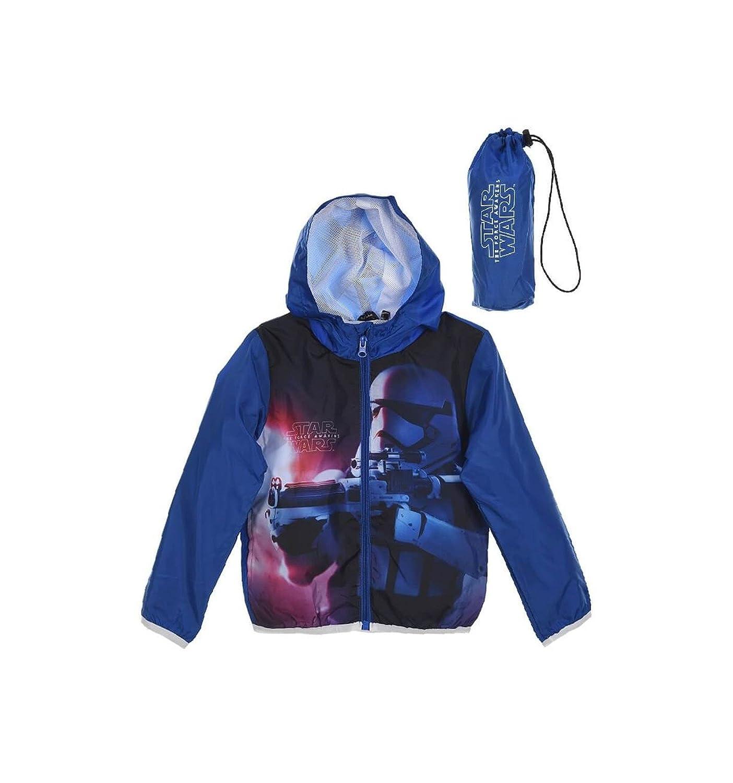 Star Wars Veste à Capuche imperméable avec Sacoche Enfant Bleu de 4 à 10ans 4 Ans VEST-G-SW-DQE1268-5-4A