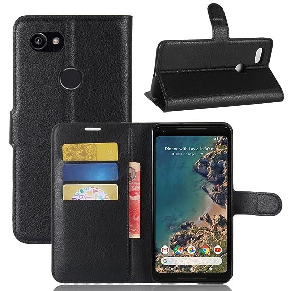 Excelsior Leather Wallet Flip Cover Case for Google Pixel 2 XL  Black  Cases   Covers