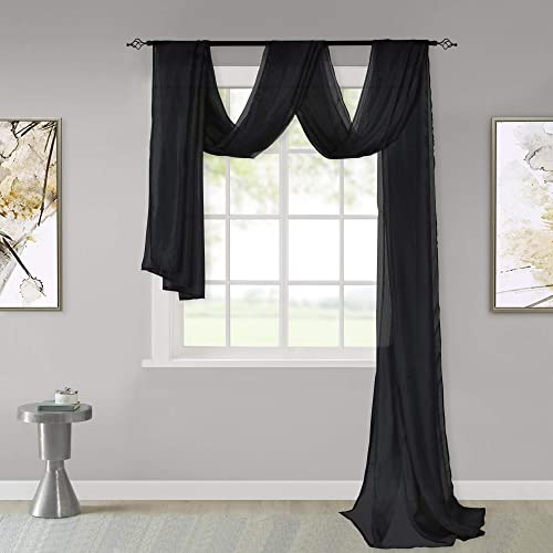 KEQIAOSUOCAI Black Sheer Window Scarf Valance Sheer Fabric for Draping Curtain Toppers for Wedding Party Girls Room Bed Canopy Scarves 52 Inches Wide by 216 Inches Long Black