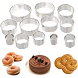 Round Cookie Biscuit Cutter Set of 12 - Quality Circle Pastry Cutters - Nesting Stainless Steel Ring Cookie Cutting Set Molds for Mousse, Dough, Chocolate, Fondant, Donut and Muffins, Includes Storage