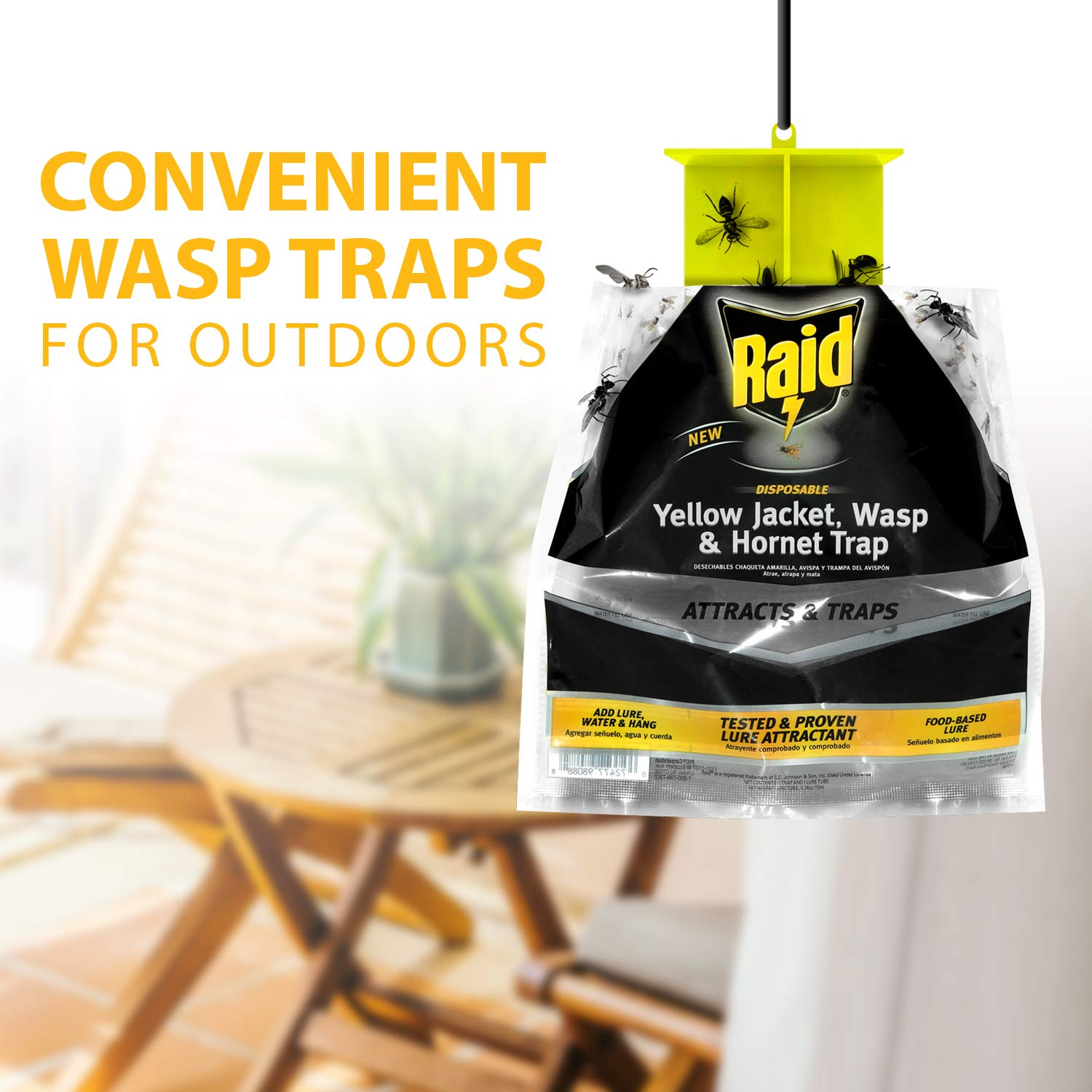 Raid Wasp Trap, Yellow Jacket Trap & Hornet Traps for Outdoors (2-Pack), Hanging Insect Trap, Disposable Wasp, Hornet & Yellow Jacket Traps ...