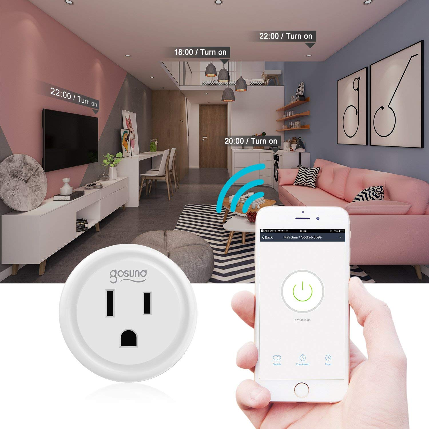 Smart plug, Gosund Mini Wifi Outlet Works w/ Alexa, Google Home IFTTT, No Hub Required, Remote Control Your Home Appliances from Anywhere, ETL Certified,Supports 2.4GHz Network(4 Pieces) (Renewed)
