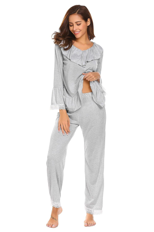 08153c25d2 Vansop Women V Neck Ruffles Lace Patchwork Blouse Long Pants Pajamas Set  S-XL at Amazon Women s Clothing store