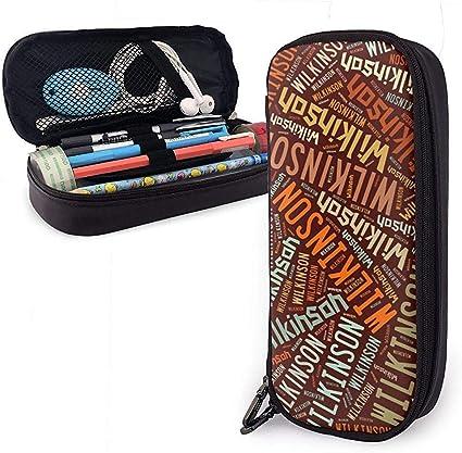 Wilkinson - Estuche de lápices de cuero American Gran capacidad, estuche para lápices, estuche grande, estuche de almacenamiento, bolsa de cosméticos portátil: Amazon.es: Oficina y papelería