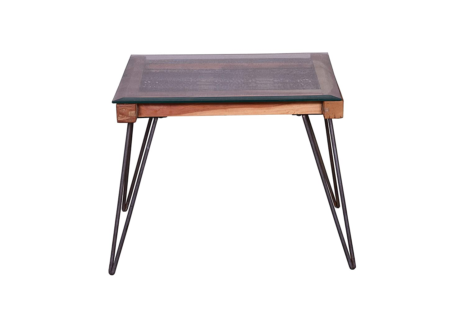 Accent Glass Side Table Contemporary Style-Natural Wood and Metal Designe Gallerie 1711-3-602 Alyssa End Top Living Room