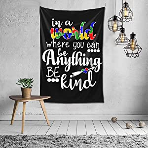 MADISON GRIFFITHS Autism Awarenes in A World Where You Can Be Anything Be Kind Home Decor Tapestry Wall Hanging Blanket for Living Room Bedroom Dormitory (40x60 in)