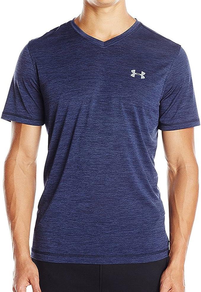 New Womens Under Armour Loose HeatGear AU V-Neck T-shirt Shirt Blue Gray Coral