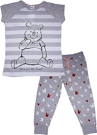 Winnie the Pooh Ladies Stripe Pyjama Set Grey X-Small