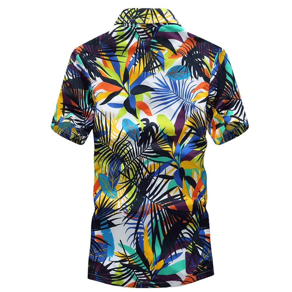 QHF Mens Hawaiian Printed Shir Male Casual Printed Beach Shirts Short Sleeve Asian-Size6,XL