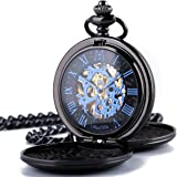 ManChDa Double Cover Roman Numerals Dial Skeleton Mens Women Pocket Watch Gift