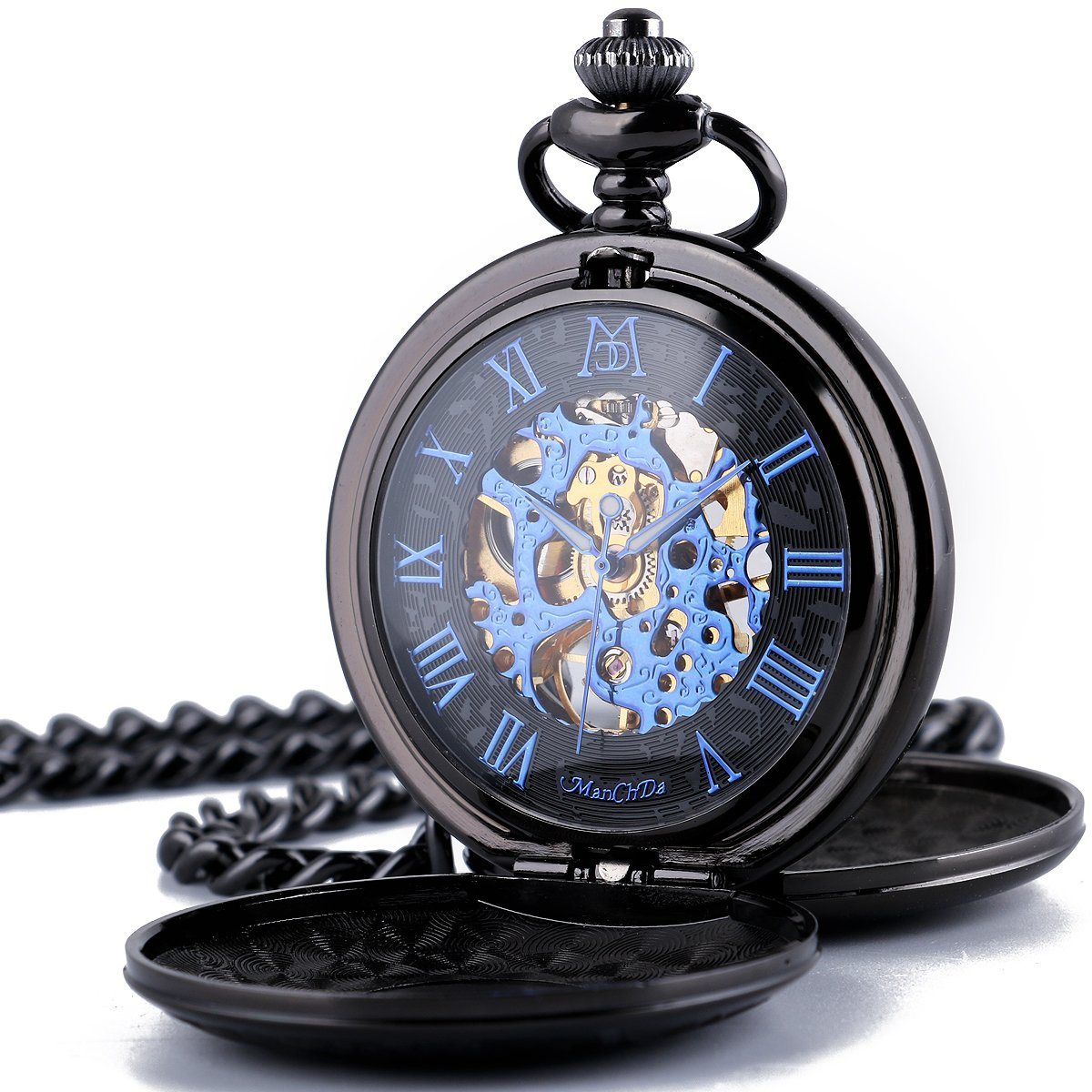 CDM product ManChDa Skeleton Mechanical Hand Wind Pocket Watch Double Hunter for Mens Women (C.Black with blue dial) big image