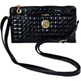 Felice Women Fashion Plaid Print Clutch Handbag PU Leather Zippered Wallet Shoulder Bag with Wristlet