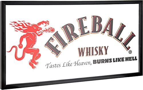 American Art Decor Fireball Whisky Tastes Like Heaven, Burns Like Hell Framed Printed Accent Mirror for Man Cave, Bar, Garage 16.5 x 31.5