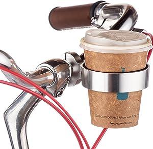 Ecity Bike Handlebar Cup Holder Aluminum Cup Bottle Handlebar Holder - Handlebar Coffee Drink Holder Cruiser Bike Mountain Road Bicycle Bike Water Bottle Coffee Cup Holder