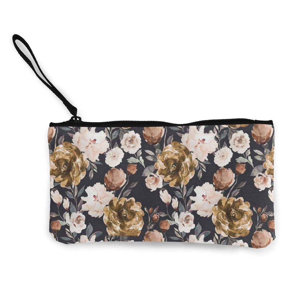 Autumn Cream Peonies Pattern Canvas Coin Purse Assorted Change Cash Bag With Zip
