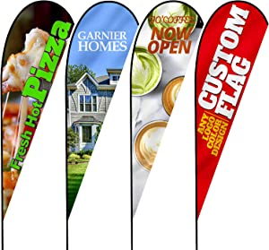 Anley Custom Advertising Teardrop Flag 3 X 7.5 Ft Double Sided - Print Your Own Logo/Design/Words - Indoor & Outdoor Commercial Banners Flags (Include Flagpole + Cross Base + Water Bag)
