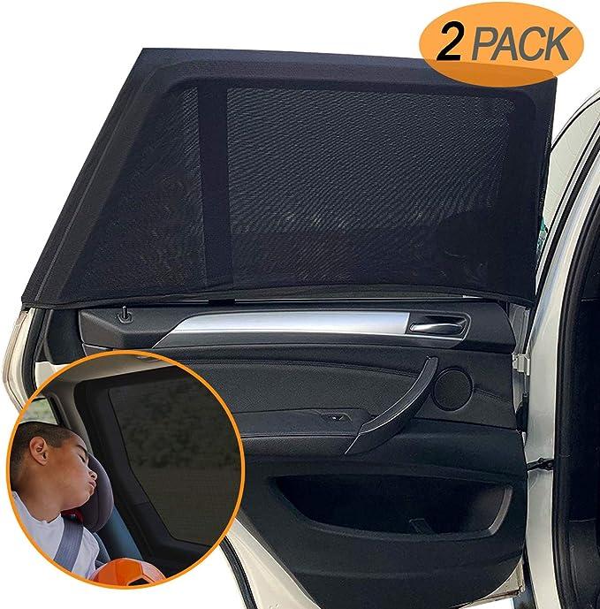 Amteker 2 Pack Sonnenschutz Auto Baby Mit Uv Schutz Uv Schutz Sonnenrollo Autofenster Für Kinder Baby Erwachsene Haustiere Tragbare Auto Sonnenblende 40 X20 Für Die Meisten Auto Auto
