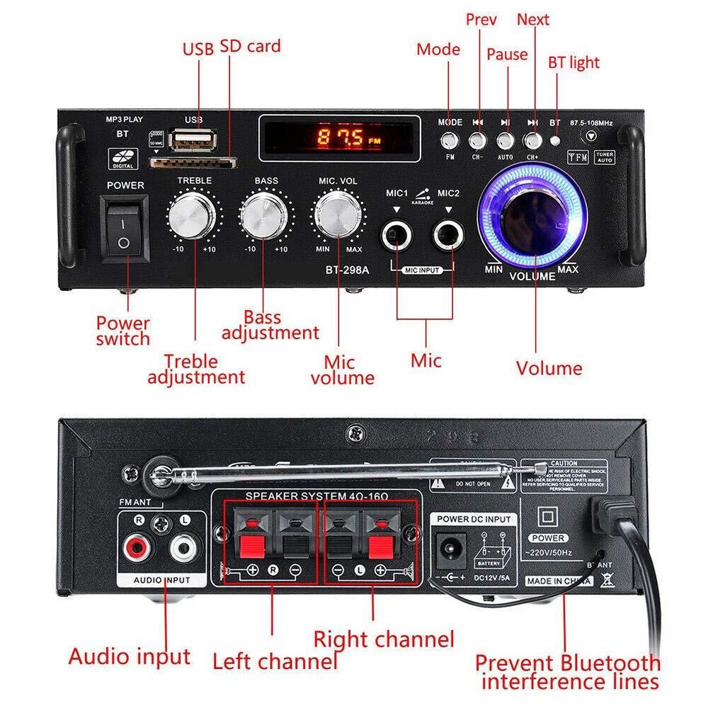 600W Digital Endverst/ärker Bluetooth Stereo Home Car Audio Verst/ärker USB SD FM MIC BT-298A 600W