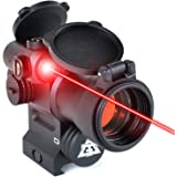 AT3 LEOS Red Dot Sight with Integrated Laser & Riser - 2 MOA Red Dot Scope with Flip Up Lens Caps